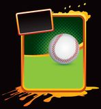 Baseball on orange splattered banner Stock Image