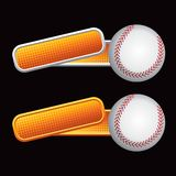 Baseball on orange tilted banners. Baseball on orange checkered tilted banners Royalty Free Stock Images