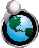 Baseball orbiting. Illustration of a baseball orbiting around Earth Stock Photo