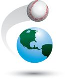 Baseball orbits earth. Baseball revolving around isolated globe Stock Images