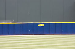 Baseball outfield wall. Outfield wall in baseball park Royalty Free Stock Images