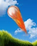 Baseball på brand Arkivbild