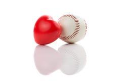 Baseball på vit Arkivfoto