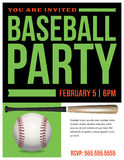 Baseball Party Flyer Invitation Illustration