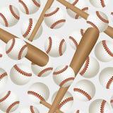 Baseball pattern. Seamless background with baseball bat and ball stock illustration