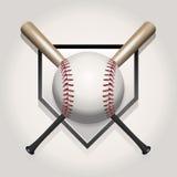 Baseball, pipistrello, illustrazione di Homeplate Fotografia Stock