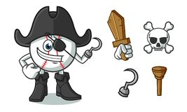Baseball pirate mascot vector cartoon illustration royalty free illustration