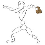 Baseball pitcher. Simple abstract line art baseball pitcher or fielder throwing the ball Stock Photos