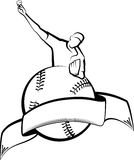 Baseball Pitcher with Ball & Banner Royalty Free Stock Image