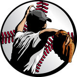 Baseball Pitcher Closeup In Ball. Closeup vector illustration of a baseball pitcher. All colors created with global swatches for quick color changes Stock Photo