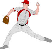 Baseball pitcher detailed illustration. Vector Royalty Free Stock Images