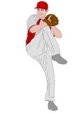 Baseball pitcher detailed illustration. Vector Stock Photography