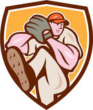 Baseball Pitcher Outfielder Leg Up Shield Cartoon. Illustration of an american baseball player pitcher outfilelder with leg up getting ready to throw ball set Royalty Free Stock Photos
