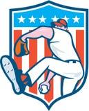 Baseball Pitcher Outfielder Throwing Ball Shield Cartoon Stock Photo
