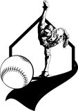 Baseball Pitcher and Pennant. Vector illustration of a baseball pitcher with a baseball pennant, baseball and home plate Royalty Free Stock Photos