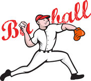 Baseball Pitcher Player Cartoon Royalty Free Stock Photography