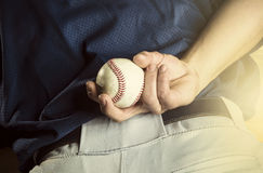 Baseball pitcher ready to pitch. Close up of hand stock photos