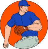 Baseball Pitcher Ready To Throw Ball Circle Drawing. Drawing sketch style illustration of an american baseball player pitcher outfilelder ready to throw ball Stock Photo