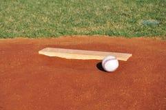 Baseball on the Pitcher's Mound Royalty Free Stock Photos