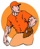 Baseball pitcher side orange Royalty Free Stock Photography