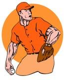 Baseball pitcher side orange. Vector art of a baseball pitcher delivering a strike stock illustration