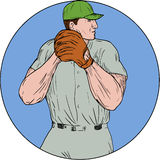 Baseball Pitcher Starting To Throw Ball Circle Drawing. Drawing sketch style illustration of an american baseball player pitcher outfilelder getting started to Royalty Free Stock Images