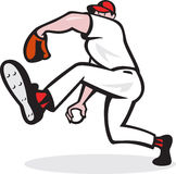 Baseball Pitcher Throwing Ball Cartoon Royalty Free Stock Photo