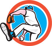 Baseball Pitcher Throwing Ball Circle Cartoon Royalty Free Stock Photos