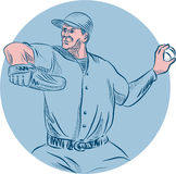 Baseball Pitcher Throwing Ball Circle Drawing. Drawing sketch style illustration of an american baseball player pitcher outfilelder throwing ball  looking to the Stock Images