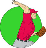Baseball Pitcher Throwing Ball Circle Drawing. Drawing sketch style illustration of an american baseball player pitcher outfilelder throwing ball viewed from the Royalty Free Stock Image