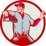 Baseball Pitcher Throwing Ball Circle Side Woodcut Stock Photo