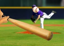 Baseball Pitcher Throwing Ball to Batter Stock Images