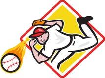 Baseball Pitcher Throwing Fire Ball Diamond. Illustration of an american baseball player pitcher outfielder throwing a fire fiery ball set inside diamond shape Stock Photography