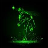 Baseball pitcher throws ball. neon style Royalty Free Stock Photos