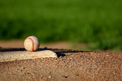 Baseball on pitchers mound. Baseball closeup on the pitchers mound Stock Photo