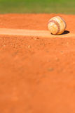 Baseball on Pitchers Mound. Dirty Baseball on Pitchers Mound royalty free stock photo