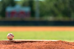 Baseball on pitchers mound. Baseball on a pitchers mound with field in background Royalty Free Stock Image