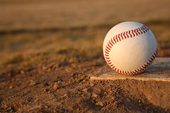 Baseball on Pitchers Mound Rubber Royalty Free Stock Photography