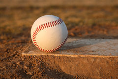 Baseball on Pitchers Mound Rubber Stock Photos