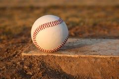 Baseball on Pitchers Mound Rubber Stock Photos