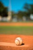 Baseball on Pitchers Mound. Well Worn Baseball on Pitchers Mound stock image