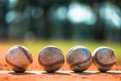 Baseball on Pitchers Mound. Well Worn Baseballs on Pitchers Mound Stock Photos