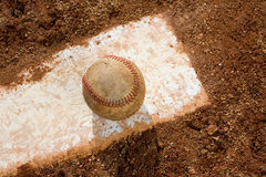Baseball on Pitching Rubber Royalty Free Stock Image