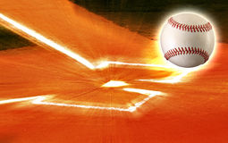 Baseball plate ball zoom. Baseball ball flying out of home plate, ball field stock images
