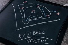Baseball play strategy. Drawn on chalk board Stock Images