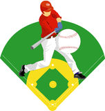 Baseball player. Illustration of a baseball player. Baseball batter Stock Photo