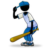 Baseball player. Cartoon sport action icon of a baseball player ready and in position for the game Royalty Free Stock Photo