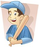 Baseball Player. Kid wearing baseball costume with bat Royalty Free Stock Images