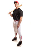 Baseball Player. Young adult baseball player. Studio shot over white Royalty Free Stock Photo