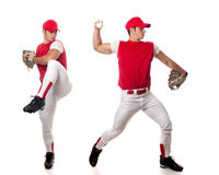 Baseball Player. Pitching. Studio shot over white Royalty Free Stock Images